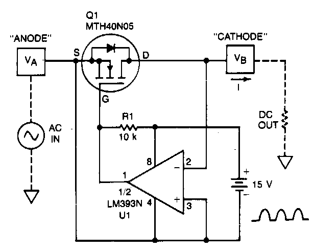 Build A Low Forward Drop Rectifier Circuit Diagram