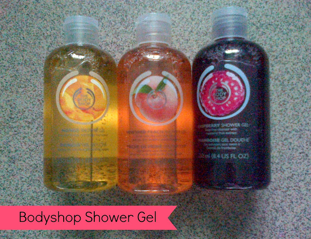 The Body Shop Shower Gels Mango, Vineyard Peach and Raspberry