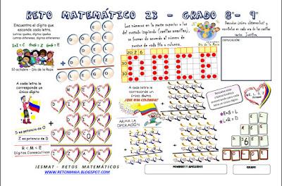 Día de la Raza, 12 de octubre, Retos matemáticos, Desafíos matemáticos, Problemas matemáticos, Problemas de lógica, Problemas para pensar, Criptoaritmética, Alfamética, Descubre el número, Puntos numéricos