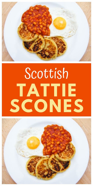 Tattie Scones are traditional potato scones made in Scotland. A simple flat scone made from mashed potato which are traditionally served as part of a cooked breakfast. #tattiescones #potatoscones #scottishscones #scottishbreakfast #cookedbreakfast #mashedpotatoes #potatofarls