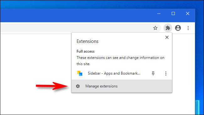 """في Google Chrome ، انقر على """"إدارة الإضافات"""""""