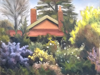 Oil painting of a house with a gabled roof and chimneys surrounded by trees and shrubs.