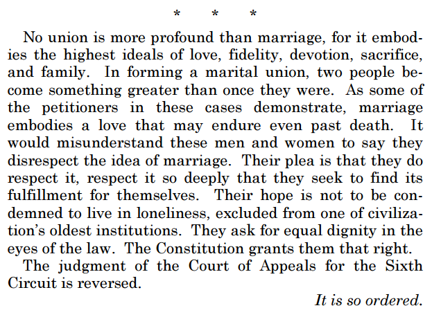 SCOTUS opinion on same sex marriage