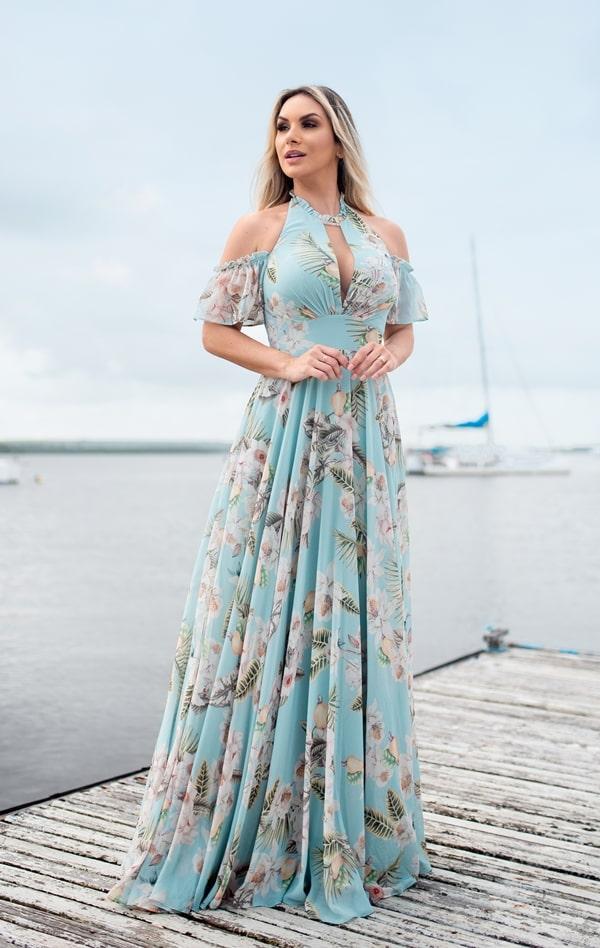 vestido  longo estampado para convidada de casamento
