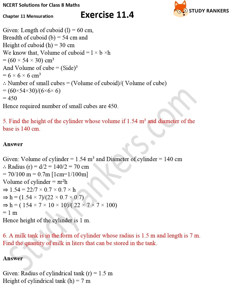 NCERT Solutions for Class 8 Maths Ch 11 Mensuration Exercise 11.4 3