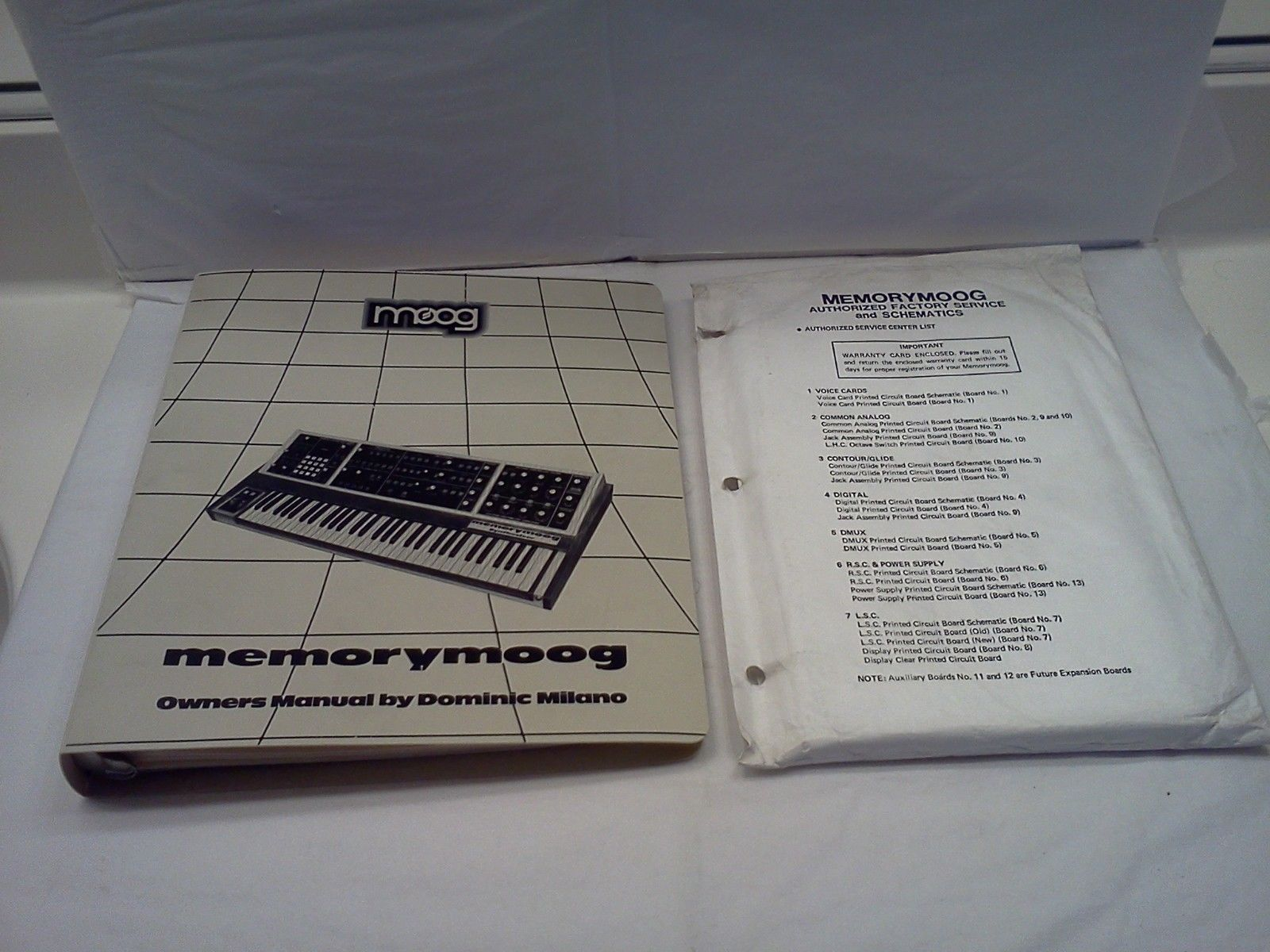 Memorymoog Moog Owners Manual + Factory Service + Schematics