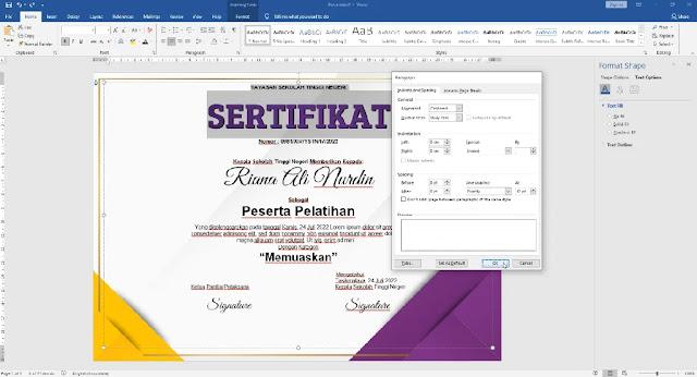Free Sertifikat .Docx : Contoh Sertifikat Pelatihan Atau Seminar Mircrosoft Word