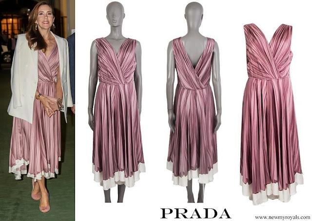 Crown Princess Mary wore Prada Flared Drape Print Dress