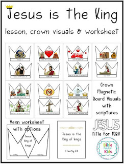 Jesus is the King of kings lesson, venn worksheet, scripture poster and Magnetic Board Visuals #Biblefun #Jesus