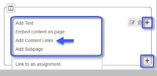 "Click on Add Content Links, after click on  Add Content or a ""plus"" symbol to the right of content"
