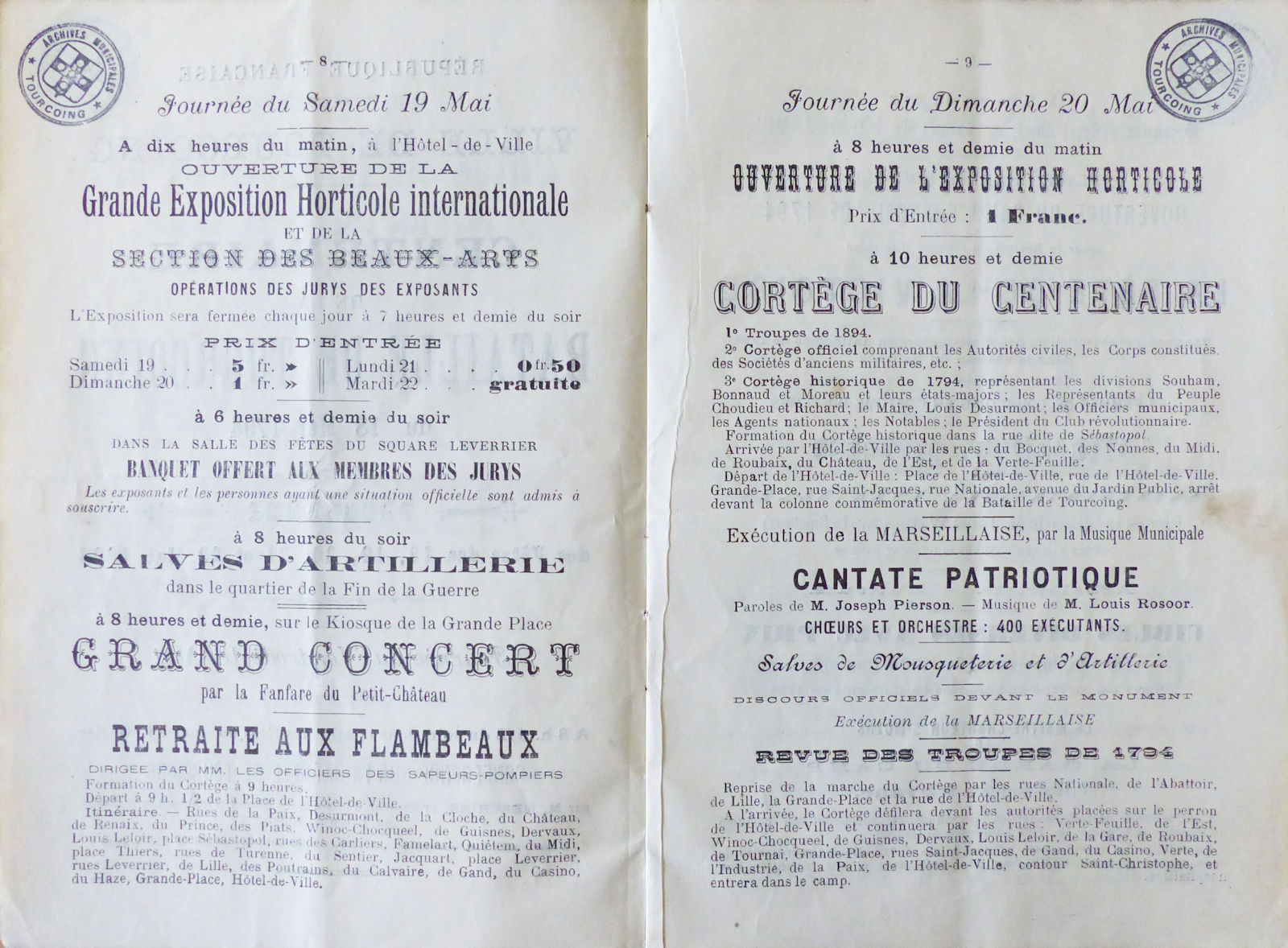 Programme Fêtes du Centenaire de la Bataille de Tourcoing de 1794