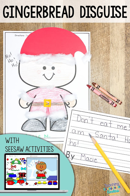 gingerbread man disguised as Santa with screenshot of dress a gingerbread man activity