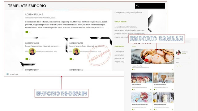 tampilan emporio desain versus emporio default