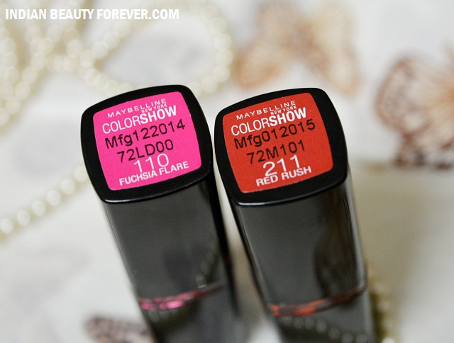 db29516f8 Maybelline Color Show Lipsticks Fuchsia Flare and Red Rush Review ...