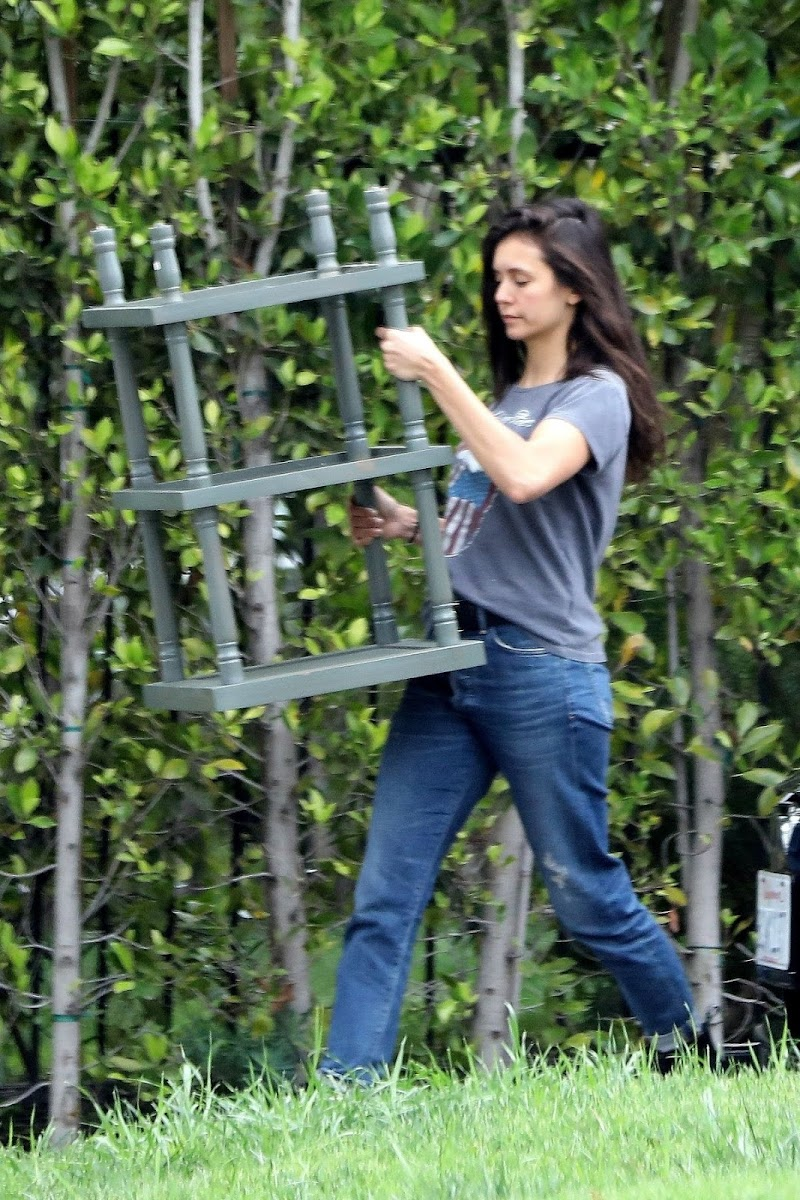 Nina Dobrev Moving Some Furniture in L A 7 Apr -2020