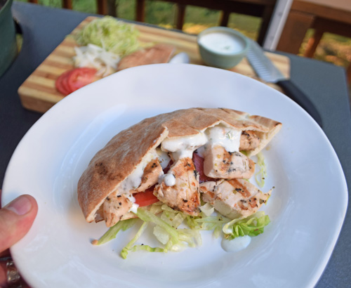 Grilled Chicken Pitas with Tzatziki cooked on a Big Green Egg kamado grill