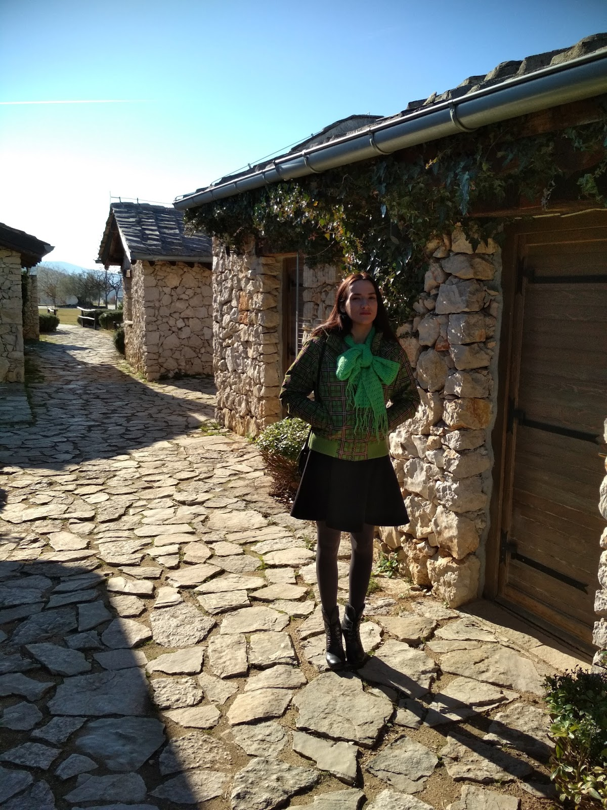 A little black skater dress and a green winter jacket (Ethno village Herceg, Herzegovina)