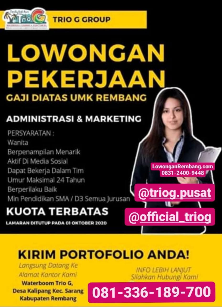 Lowongan Kerja Administrasi Dan Marketing Trio G Group Kalipang Sarang Rembang