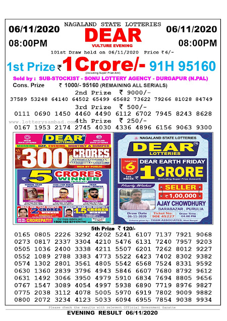 8pm Lottery Sambad, 06.11.2020, Sambad Lottery, Lottery Sambad Result 8 00 pm, Lottery Sambad Today Result 8 pm, Nagaland State Lottery Result 8 00 pm