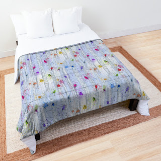 Whimsical rainbow birds on birch trees patterned comforter