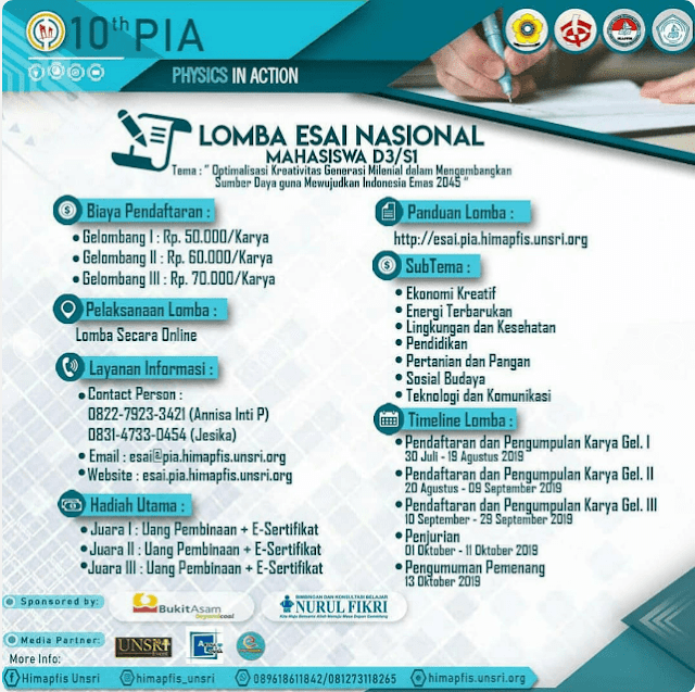 Lomba Esai Nasional Physics in Action (PIA) Unsri 2019 Mahasiswa
