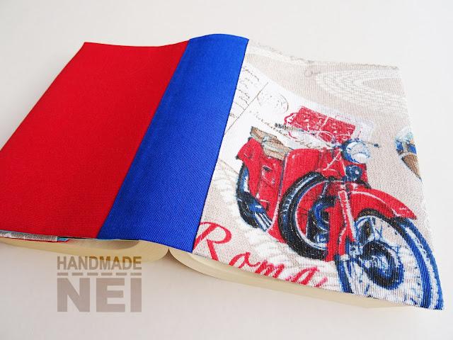 """Handmade Nel: Калъф за книга от плат """"Червен ретро мотор"""""""
