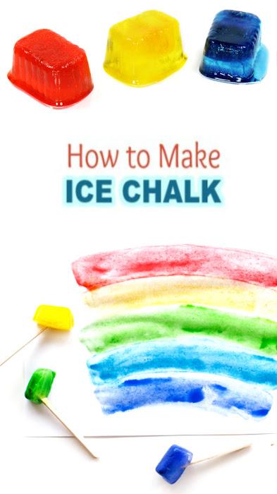 Cool off on a hot day with this easy ice-chalk recipe for kids!  #icechalk #frozenchalk #sidewalkchalk #recipesforkids #growingajeweledrose #kidsactivities