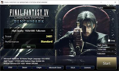 Benchmarking ASUS TUF Gaming FX505D dengan Final Fantasy XV dengan kualitas High dan kondisi charging