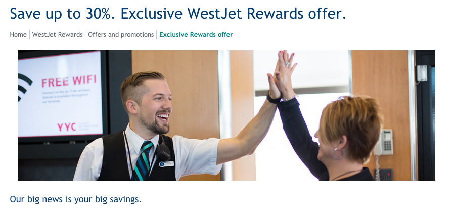 Westjet coupon code 2018