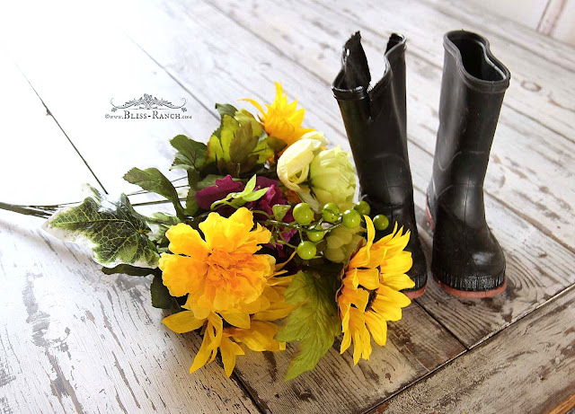 Rubber Rain Mud Boot Door Wreath Bliss-Ranch.com