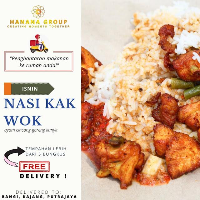 Nasi Kak Wok (berserta Ayam Goreng Kunyit dan Sambal Belacan)