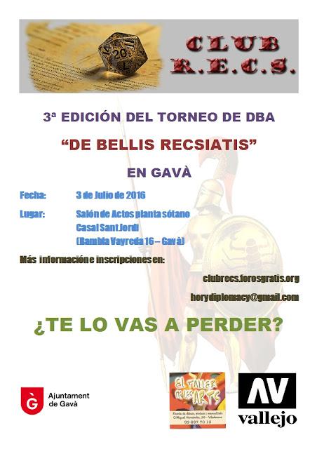 III Torneo de DBA De Bellis RECSiatis, Gavà Taller de les Arts Vallejo