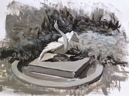 Johanne Morin's Art in the Making: 5-value study of the goose fountain