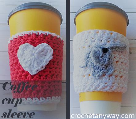 two crochet coffee cup sleeve