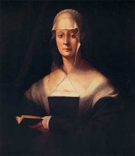 Giovanni's wife, Maria Salviati, a portrait by  Jacopo Pontormo, in the Uffizi Gallery
