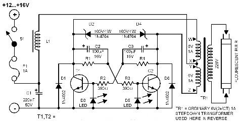 dc-flourescent-lamp-circuit-diagrams