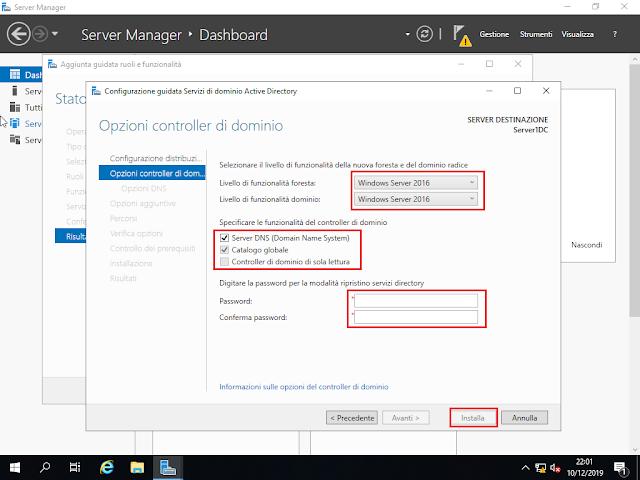 Windows Server 2019, Opzioni controller di dominio