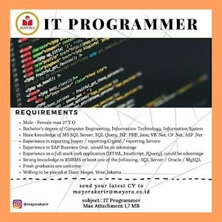 IT Programmer di PT Mayora Indah Tbk