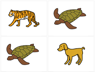 Four clip-art images of animals. A tiger, two turtles and a dog. Part of Will Wade's switch accessible Snap! game.