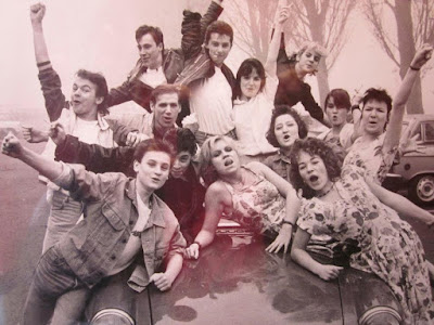 Publicity shot in black and white for the Swan Youth Theatre Worcester production of Grease.