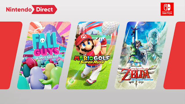 nintendo direct february 2021 switch games fall guys: ultimate knockout mario golf: super rush the legend of zelda: skyward sword hd