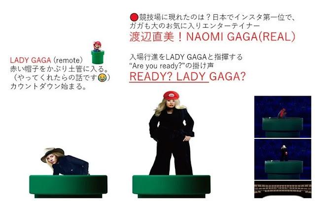 Olimpíadas Mario Lady Gaga Naomi Watanabe