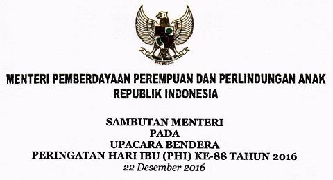 Sambutan Menteri PPPA Pada Upacara Bendera Peringatan Hari Ibu Ke-88 Tanggal 22 Desember 2016