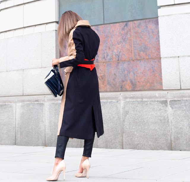 fall colorblock long coat