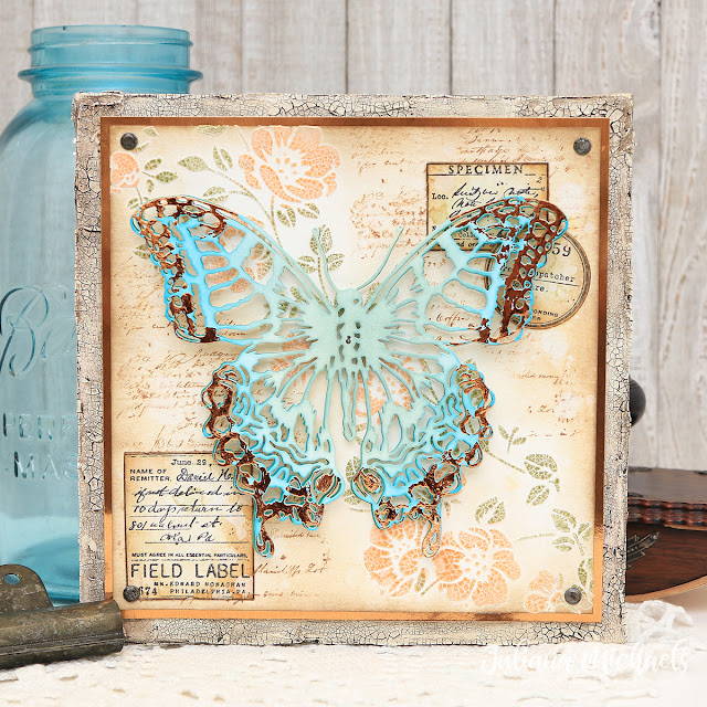 Butterfly Specimen Canvas by Juliana Michaels featuring the Tim Holtz Butterfly Perspective Thinlits