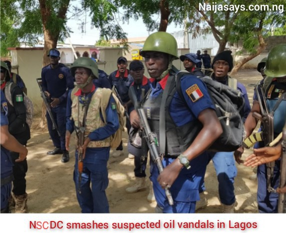 NSCDC smashes suspected oil vandals in Lagos