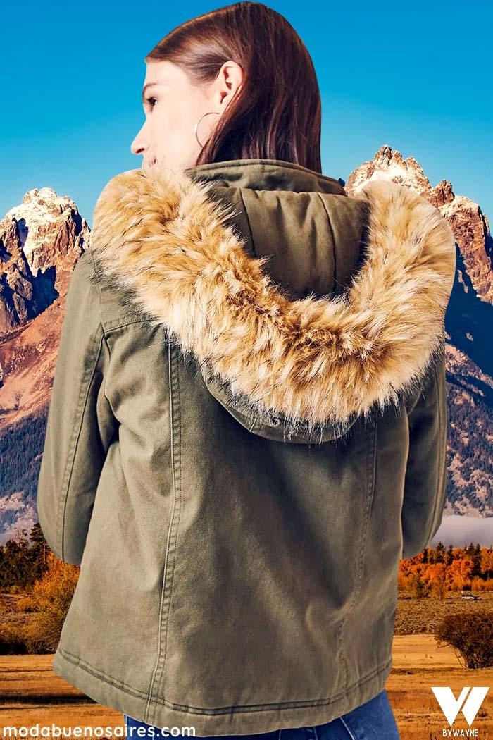 Camperas urbanas con capucha de piel invierno 2021