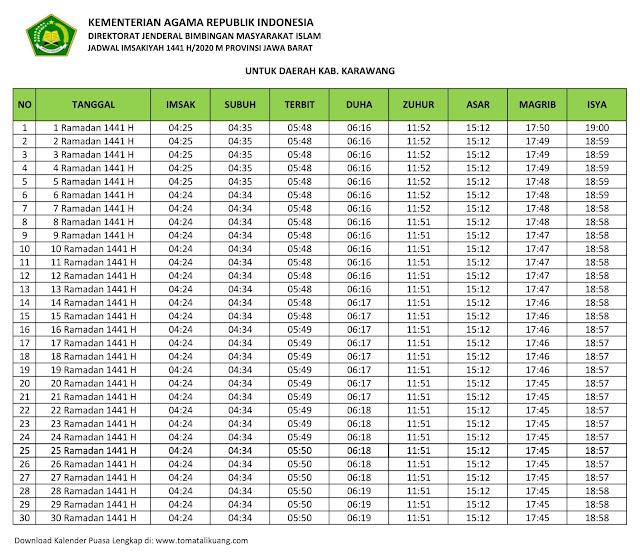 jadwal imsakiyah ramadhan buka puasa Kabupaten Karawang 2020 m 1441 h tomatalikuang.com
