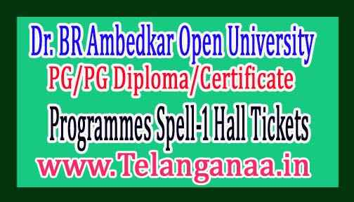 BRAOU PG/PG Diploma/Certificate Programmes Spell-1 Hall Tickets