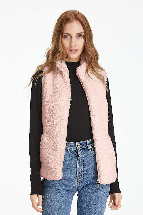 Cheap Pink Faux Fur Vests For Women